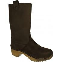 Dark Brown Boots Klogga kozaki drewniaki brązowe