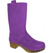 Lila Boots Klogga kozaki drewniaki fioletowe