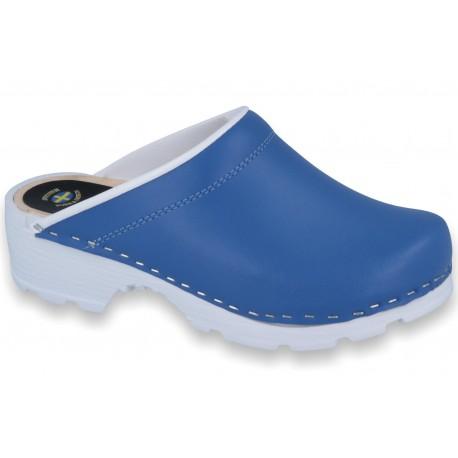 Comfort chodaki spody drewniano-gumowe niebieskie