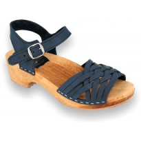 V-Navy Wooden Clogs Nubuck
